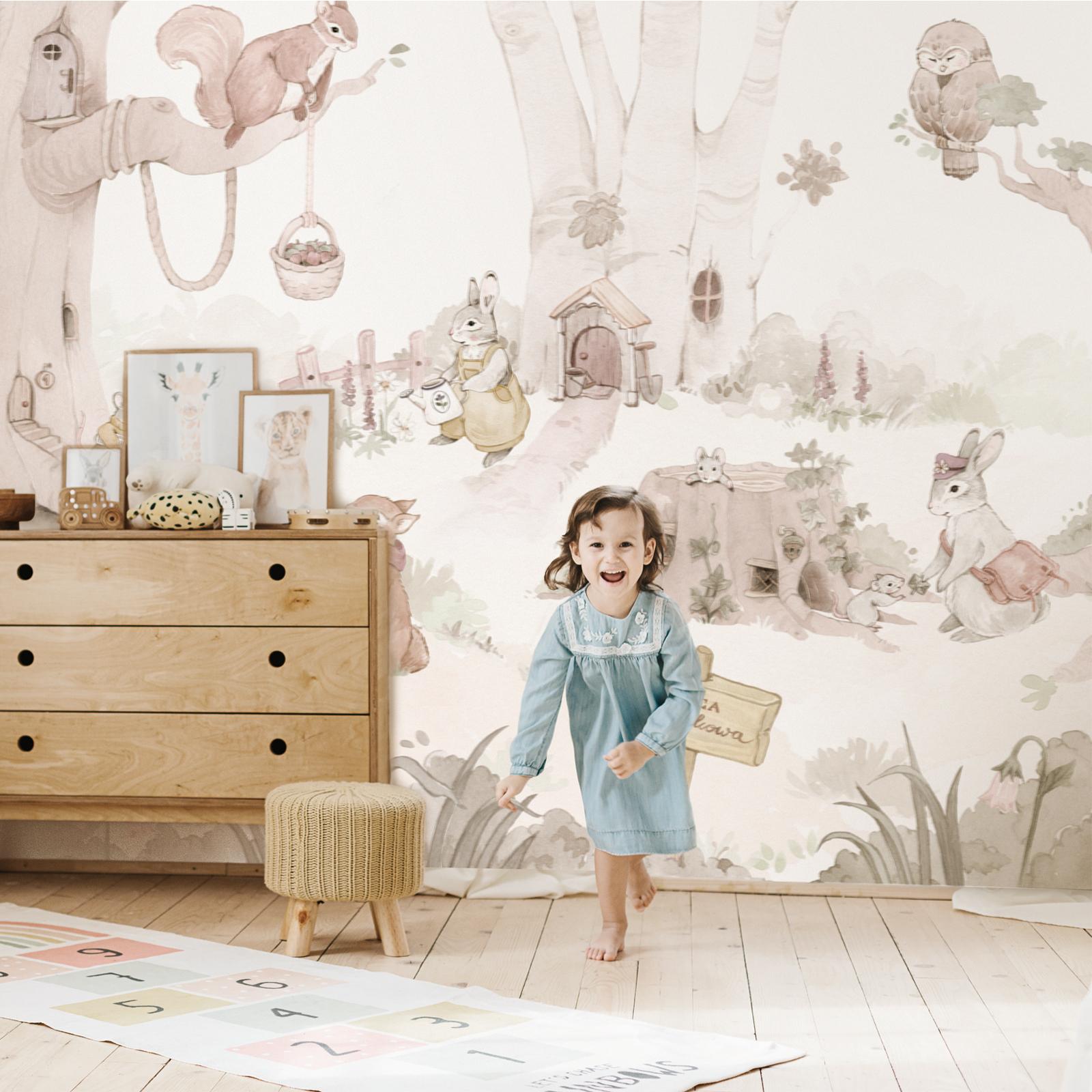 tapeta-ze-zwierzetami-dla-dzieci-las